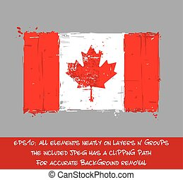 Canadian Flag Flat - Artistic Brush Strokes and Splashes