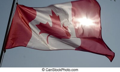 Canadian flag flying in slow motion.
