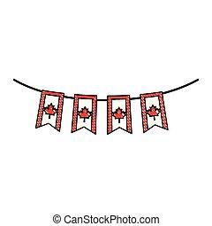 canadian flag garlands hanging