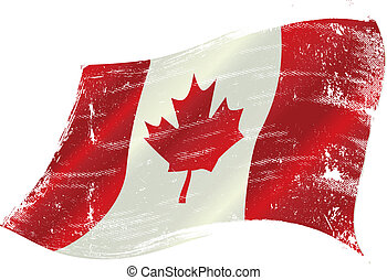 canadian flag grunge - flag of Canada in the wind with a ...