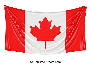Canadian flag hanging on the wall, 3D rendering