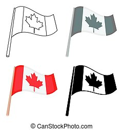 Canadian flag icon in cartoon style isolated on white...