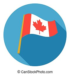 Canadian flag icon in flat style isolated on white background. Canadian Thanksgiving Day symbol vector illustration.