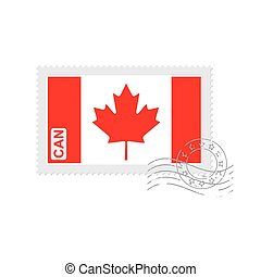 Canadian flag old postage stamp