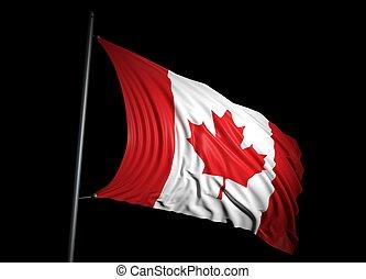 Canadian flag on black background