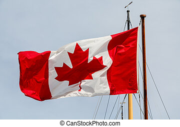 Canadian Flag on Boat Mast - Canadian flag on a boat's mast ...