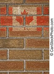 Canadian Flag on Brick Wall