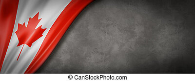 Canadian flag on concrete wall banner