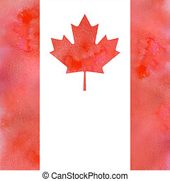 canadian flag on watercolor with solt texture - Canadian...