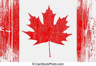 Canadian Flag On Wood