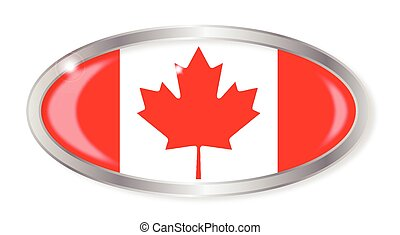 Canadian Flag Oval Button