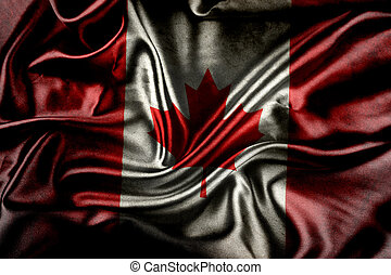 Canadian flag  - Closeup of ruffled Canadian flag