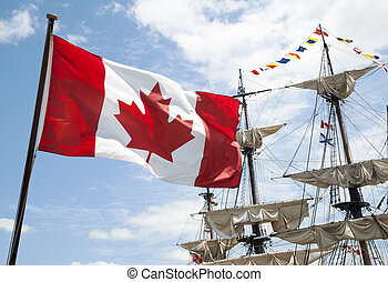 Canadian Flag - The close view of Canadian flag with...