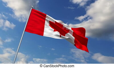 Canadian flag waving against time-lapse clouds background