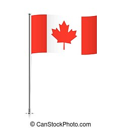 Canadian flag waving on a metallic pole.