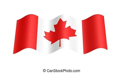 Canadian flag wavy, 3d animation loop