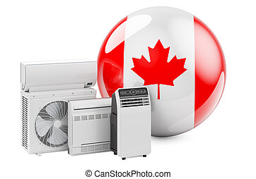 Canadian flag with cooling and climate electric devices. Manufacturing, trading and service of air conditioners in Canada, 3D rendering