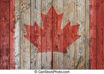 Canadian flag wooden background