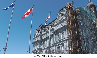 Canadian Flags - Canadian And Quebec Flags Outside Montreal...