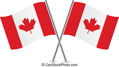 Canadian flags. Vector illustration