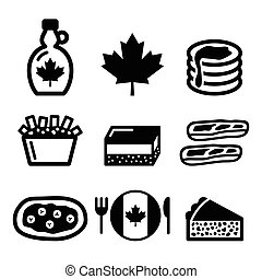 Vector icons set - traditional meals and dishes from Canada