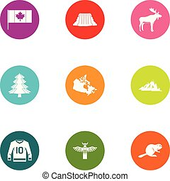 Canadian forest icons set, flat style