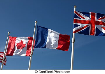 Canadian, french and british flags