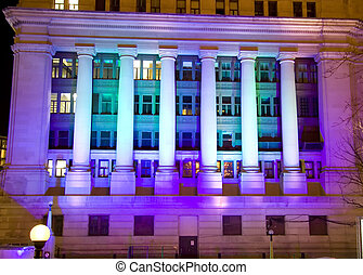 Canadian Government Building in Ottawa at Night