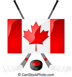 Canadian hockey - Illustration of hockey sticks, puck and a...