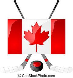 Canadian hockey - Illustration of hockey sticks, puck and a...