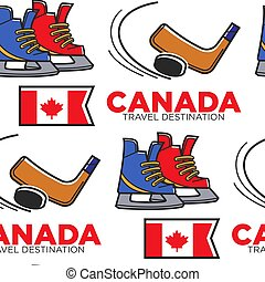 Canadian hockey items and national flag seamless pattern - ...