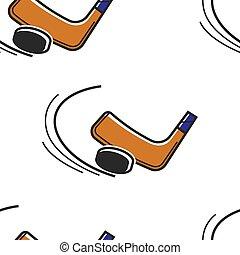 Canadian hokey sport seamless pattern puck and putter - Puck...