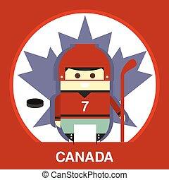 Canadian in Hockey Uniform Vector Illustration