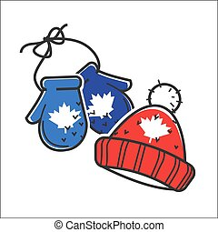 Canadian knitted wool hat and mittens vector isolated Canada...