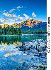 Canadian Landscape: Sunrise at Pyramid Lake in Jasper National Park