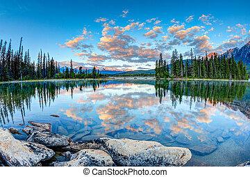 Canadian Landscape: Sunrise at Pyramid Lake in Jasper...