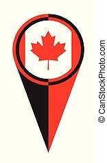 Canadian Map Pointer Location Flag