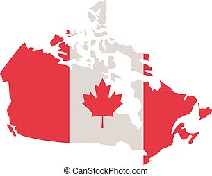 Canadian map with canada flag