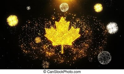 Canadian Maple Leaf Icon on Firework Display Explosion...