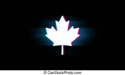 Canadian Maple Leaf Symbol on Glitch Retro Vintage Animation.