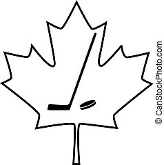 Canadian maple leaf with hockey stick icon. Vector illustration