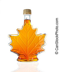 Canadian Maple Leaf Shaped Glass Maple Syrup Bottle Isolated On A White background