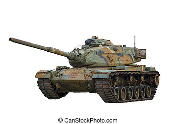 Military Tank on White Background