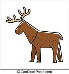 Canadian moose elk vector isolated Canada traditional animal symbol
