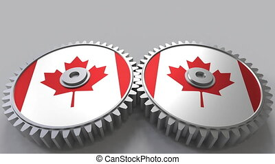 Canadian national project. Flags of Canada on moving cogwheels. Conceptual animation