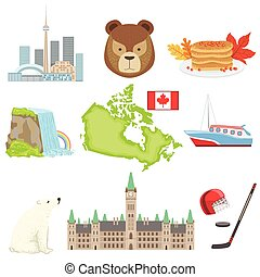 Canadian National Symbols Set Of Items. Isolated Objects...