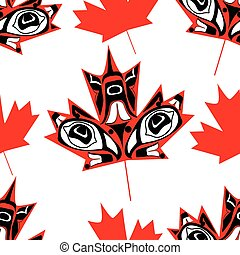Canadian native maple leaf - Canadian maple leaf in native...