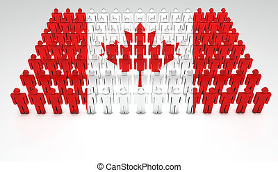 Canadian Parade - Parade of 3d people forming a top view of...