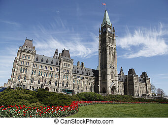 Canadian Parliament Building During The Annual Spring Tulip...