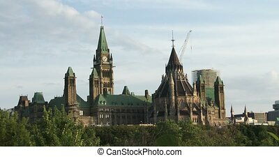 Canadian Parliament in Ottawa, view of the side facing Quebec